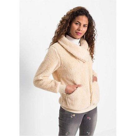 Fleece trui beige