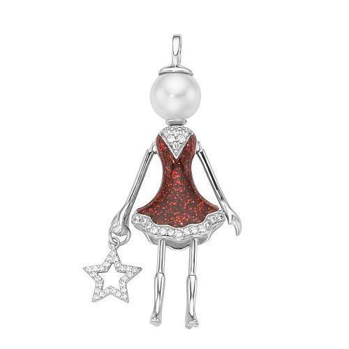 Zilveren hanger met popje